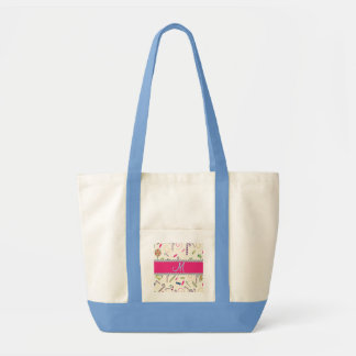Hot Pink Diamond Candy Cane Monogram Tote Bag