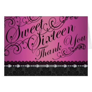 Hot Pink Diamond & Damask sweet16 Thank You card