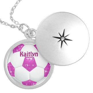 Hot Pink Diamond Gemstones Soccer Ball Round Locket Necklace