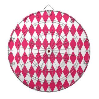 Hot Pink Diamond Modern Retro Pattern Dartboard With Darts