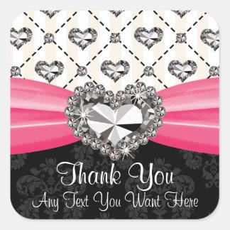 Hot Pink Diamond Rhinestone Heart Thank You Labels