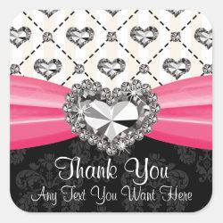 Hot Pink Diamond Rhinestone Heart Thank You Labels Square Sticker