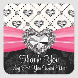 Hot Pink Diamond Rhinestone Heart Thank You Labels Square Stickers