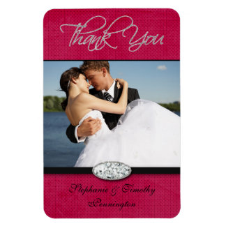 Hot pink diamond wedding thank you flexible magnet