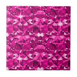 Hot Pink Diamonds Small Square Tile