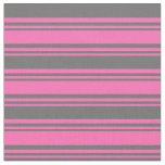 [ Thumbnail: Hot Pink & Dim Gray Colored Striped/Lined Pattern Fabric ]