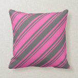 [ Thumbnail: Hot Pink & Dim Gray Colored Striped/Lined Pattern Throw Pillow ]