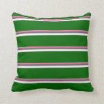 [ Thumbnail: Hot Pink, Dim Gray, White, and Dark Green Colored Throw Pillow ]