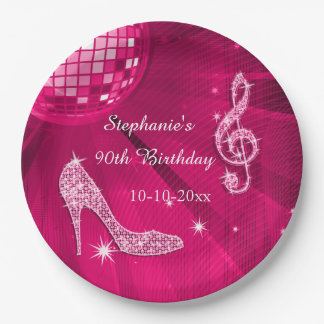 Hot Pink Disco Ball and Heels 90th Birthday Paper Plate