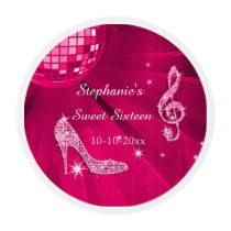 Hot Pink Disco Ball and Heels Sweet 16 Edible Frosting Rounds