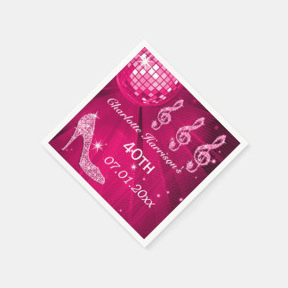 Hot Pink Disco Ball and Sparkle Heels 40th Paper Napkin