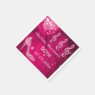 Hot Pink Disco Ball and Sparkle Heels 50th Napkin