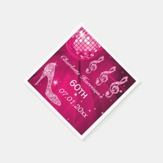 Hot Pink Disco Ball and Sparkle Heels 60th Paper Napkin