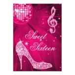 Hot Pink Disco Ball and Sparkle Heels Sweet 16 5x7 Paper Invitation Card