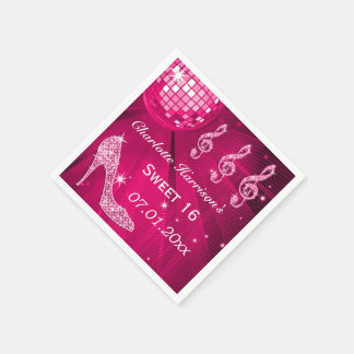 Hot Pink Disco Ball and Sparkle Heels Sweet 16 Paper Napkin