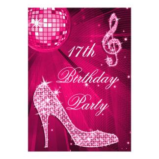 Hot Pink Disco Ball Sparkle Heels 17th Birthday Card