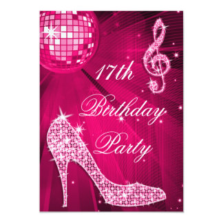 "Hot Pink Disco Ball Sparkle Heels 17th Birthday 5"" X 7"" Invitation Card"