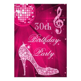 Hot Pink Disco Ball Sparkle Heels 30th Birthday Invites