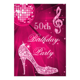 Hot Pink Disco Ball Sparkle Heels 50th Birthday Personalized Invites