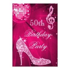 Hot Pink Disco Ball Sparkle Heels 50th Birthday 5x7 Paper Invitation Card