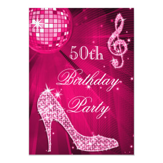 Hot Pink Disco Ball Sparkle Heels 50th Birthday 5x7 Paper Invitation Card