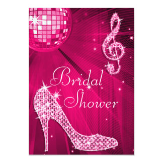 Hot Pink Disco Ball & Sparkle Heels Bridal Shower Card