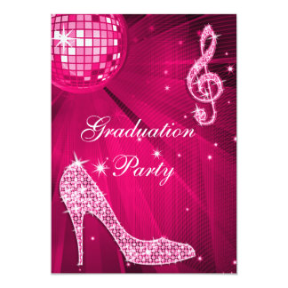 Hot Pink Disco Ball Sparkle Heels Graduation Card