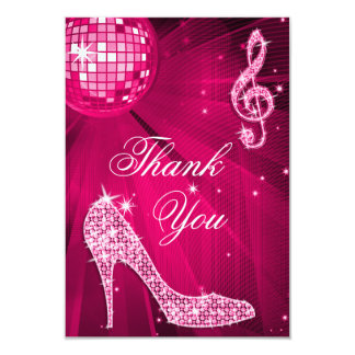 Hot Pink Disco Ball Sparkle Heels Thank You 3.5x5 Paper Invitation Card