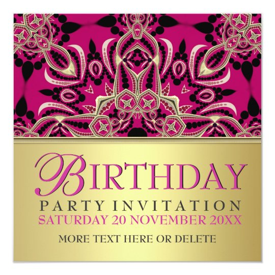 Hot Pink Diva Gal Birthday Party Invitations