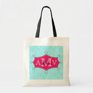 Hot Pink Doodle Frame Damask Monogram Name Tote Bags