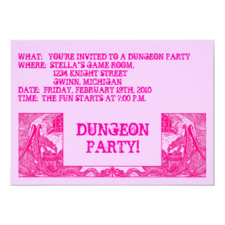 HOT PINK DRAGONS IN DUNGEONS ~ PARTY INVITATION! 5X7 PAPER INVITATION CARD