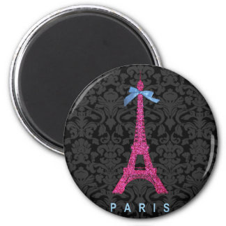 Hot Pink Eiffel Tower in faux glitter 2 Inch Round Magnet