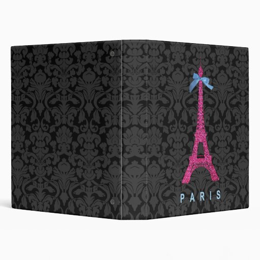 Hot Pink Eiffel Tower in faux glitter 3 Ring Binder