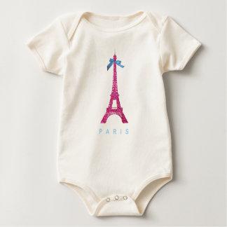 Hot Pink Eiffel Tower in faux glitter Baby Bodysuit