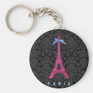 Hot Pink Eiffel Tower in faux glitter Basic Round Button Keychain