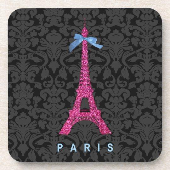 Hot Pink Eiffel Tower in faux glitter Beverage Coaster