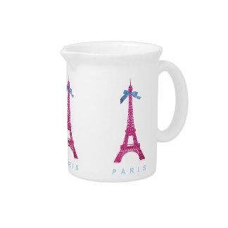 Hot Pink Eiffel Tower in faux glitter Beverage Pitcher