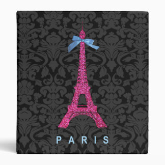 Hot Pink Eiffel Tower in faux glitter 3 Ring Binder
