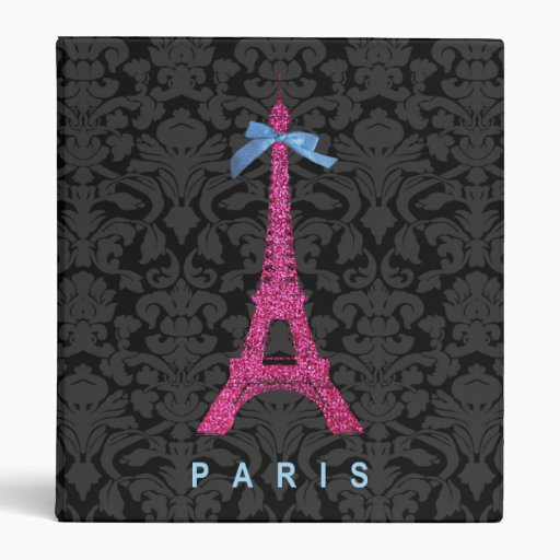 Hot Pink Eiffel Tower in faux glitter Binder