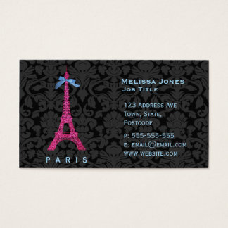 Hot Pink Eiffel Tower in faux glitter Business Card