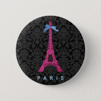 Hot Pink Eiffel Tower in faux glitter Button