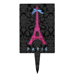 Hot Pink Eiffel Tower in faux glitter Cake Topper