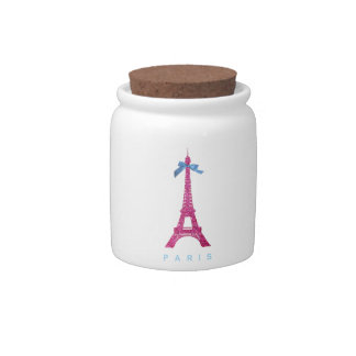 Hot Pink Eiffel Tower in faux glitter Candy Dish