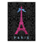Hot Pink Eiffel Tower in faux glitter Greeting Cards