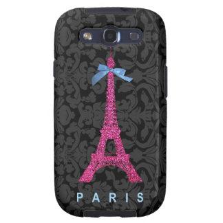 Hot Pink Eiffel Tower in faux glitter Samsung Galaxy S3 Case