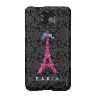 Hot Pink Eiffel Tower in faux glitter Samsung Galaxy S2 Case