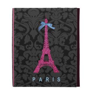Hot Pink Eiffel Tower in faux glitter iPad Folio Case
