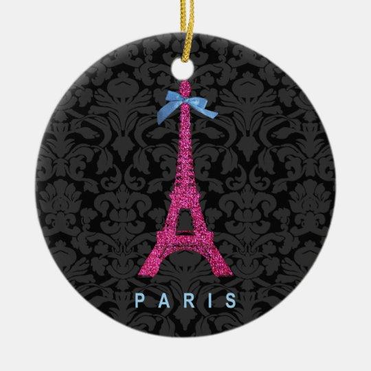 Hot Pink Eiffel Tower in faux glitter Ceramic Ornament