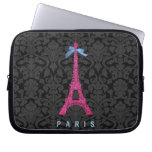 Hot Pink Eiffel Tower in faux glitter Computer Sleeves