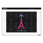 """Hot Pink Eiffel Tower in faux glitter Decals For 15"""" Laptops"""